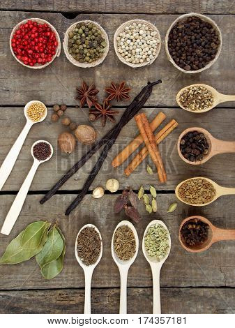 Composition Of Spices On Wooden Background. View Top.