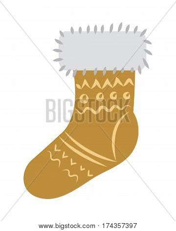 Sock with light fur on top and holiday ornament isolated on white. Vector illustration of thermal yellow christmas stocking with decor in shapes of round and straight lines in cartoon style.