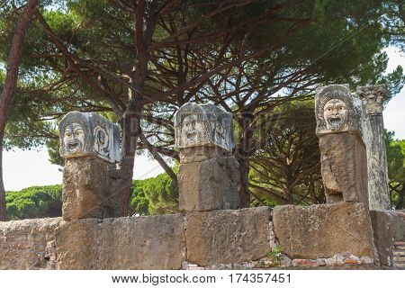 Roman Sculptures At Ostia Antica Italy
