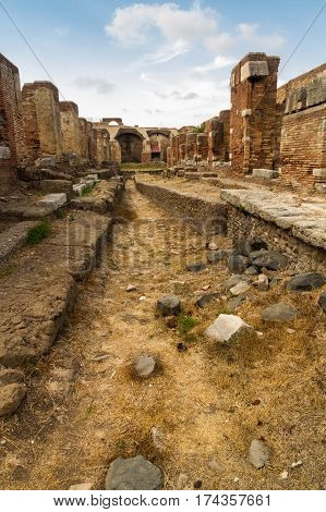 Roman Path And Buildings At Ostia Antica Italy