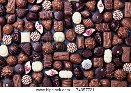 Assortment of fine chocolate candies white dark and milk chocolate Sweets background Copy space Top view poster