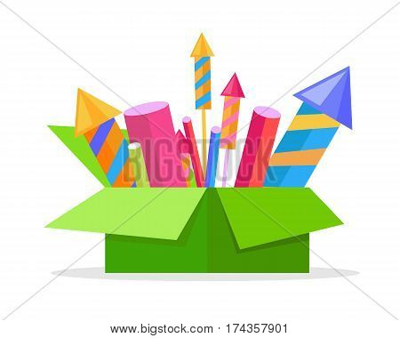 Collection of cartoon fireworks in paper container. Carton box full of bright pyrotechnics isolated on white. Flat vector illustration of explosive holiday equipments for Christmas and New Year