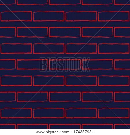 Stylized brick wall vector seamless pattern. Abstract red bricks on navy blue background. Can be used for graphic design pattern fill packaging clothing printing on surfaces