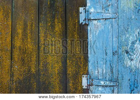 Real brown wood planks and painted in blue color texture. Close up of details of old retro or vintage door of weathered barn on country farm. Horizontal color photo.
