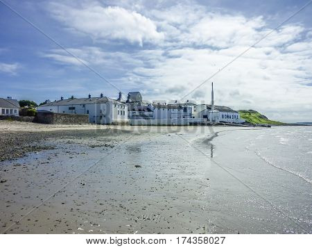 ISLAY, SCOTLAND - JUNE 2, 2014: Whisky storing in the houses of Bowmore close to the Atlantic waters