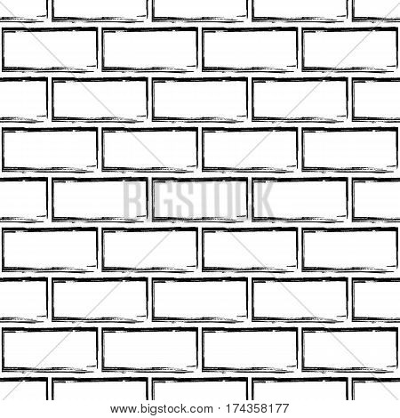 Stylized brick wall vector background. Abstract black and white seamless pattern. Can be used for graphic design pattern fill packaging clothing printing on surfaces.
