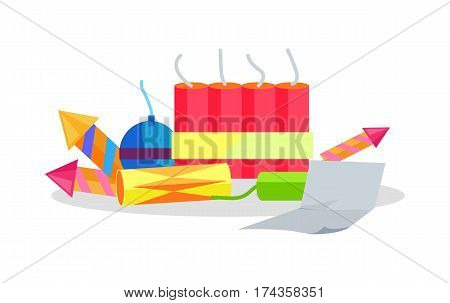 Collection of cartoon fireworks and paper instruction nearby isolated on white. Bright pyrotechnic rockets, bombs devices. Flat vector illustration of explosive holiday equipments for Christmas