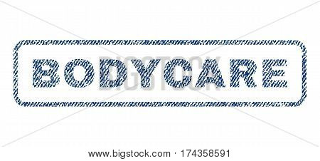 Bodycare text textile seal stamp watermark. Blue jeans fabric vectorized texture. Vector tag inside rounded rectangular banner. Rubber sign with fiber textile structure.