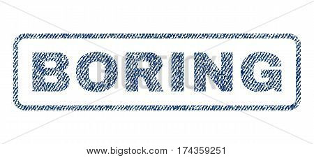 Boring text textile seal stamp watermark. Blue jeans fabric vectorized texture. Vector caption inside rounded rectangular shape. Rubber emblem with fiber textile structure.