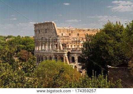 The Colosseum or Coliseum Roman Amphitheatre in Rome.
