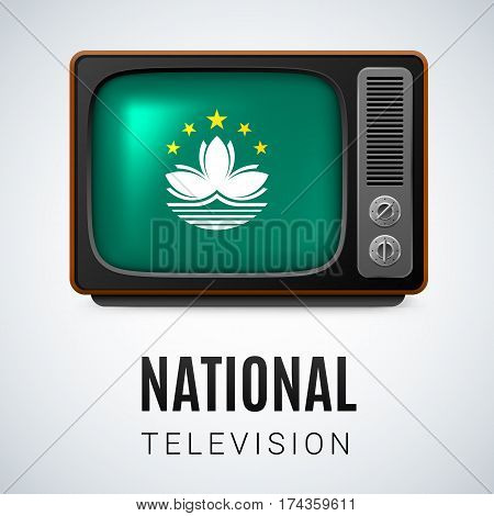 Vintage TV and Flag of Macau as Symbol National Television. Tele Receiver with flag design