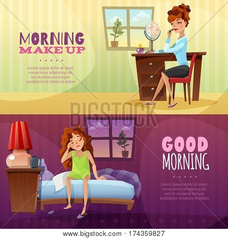 Good morning and morning make up horizontal banners with cartoon young girl awakening and applying lipstick flat vector illustration