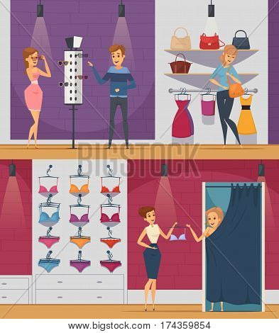 Two horizontal trying shop flat people compositions with girl in lingerie store and girl in shop of accessories vector illustration