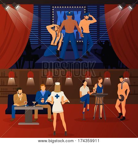 Two horizontal strip banners with indoor club interior and people characters female and male striptease dancers vector illustration