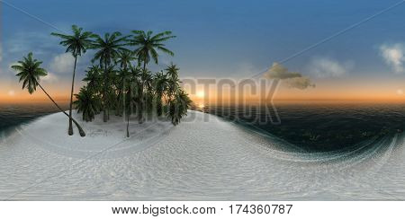 panorama 360 sea  tropical island  palm trees  sun 3D illustration