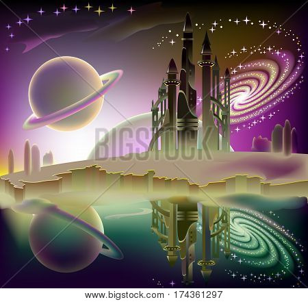 Illustration of fairyland space landscape with fantastic spaceship. Vector cartoon image.