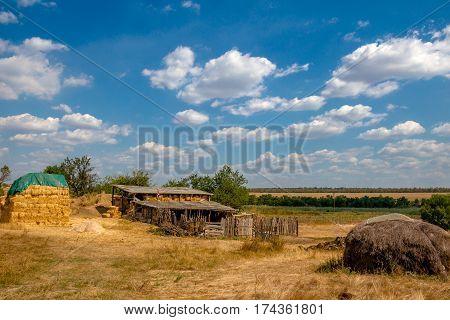 Barn and hayloft in the village. Ukrainian summer.