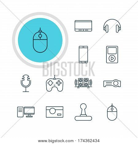 Vector Illustration Of 12 Gadget Icons. Editable Pack Of Cursor Controller, Monitor, Smartphone And Other Elements.