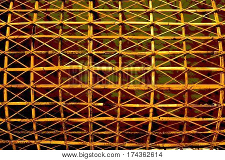 Rattan photography art abstract background decorate computer graphic yellow and dark red color.