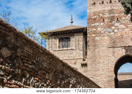 A tower at Alcazaba of Malaga a fortress of the city Andalusia Spain.