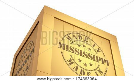 Import - Export Wooden Crate. Made In Mississippi. 3D Illustration