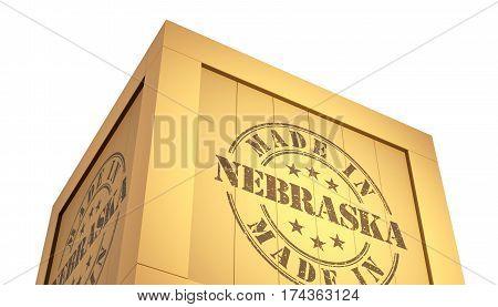 Import - Export Wooden Crate. Made In Nebraska. 3D Illustration