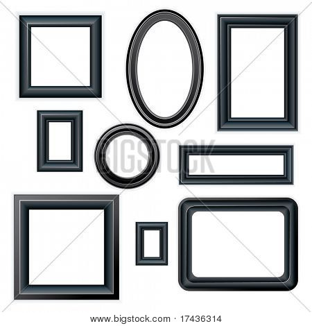 Classical Black picture frames - isolated on white background