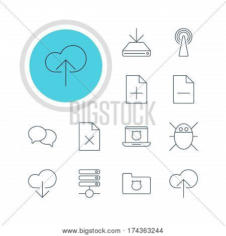 Vector Illustration Of 12 Web Icons. Editable Pack Of Talking, Computer Virus, Removing File And Other Elements.