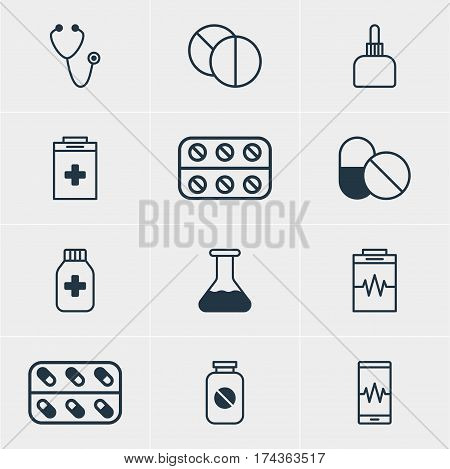 Vector Illustration Of 12 Medicine Icons. Editable Pack Of Pulse, Aspirin, Medicine And Other Elements.