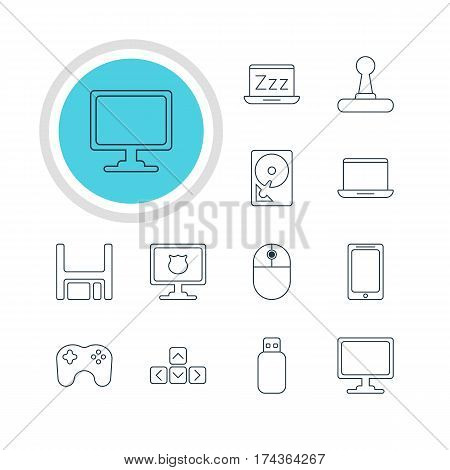 Vector Illustration Of 12 Computer Icons. Editable Pack Of Screen, Smartphone, Keypad And Other Elements.