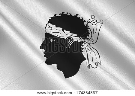 Flag of Corsica is an island in the Mediterranean Sea belonging to France. 3d illustration