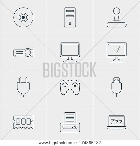Vector Illustration Of 12 Notebook Icons. Editable Pack Of Mainframe, Game Controller, Presentation And Other Elements.