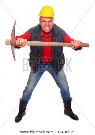 Angry worker with pick axe on a white background.