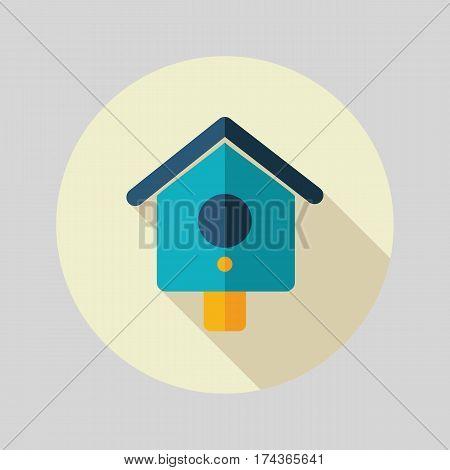 Nesting box bird-house flat vector icon outline isolated garden eps 10