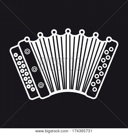 Accordion. Musical instrument for kid. Baby toy. Cartoon style.