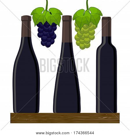 Vector illustration of logo for glass bottle of red white wine isolated close-up background.Vine drawing consisting of bottles alcohol organic liquid wooden board grapes cheese wineglass.Drink vines