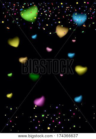 Confetti poster. Abstract background with colorful confetti, bright sparkles, frame. Vector illustration. Festive confetti black background. Christmas, night party decoration.
