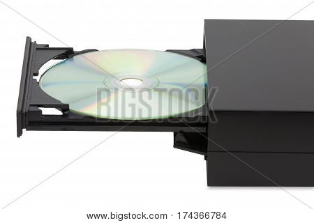 External black CD-DVD player on white background at horizontal angle