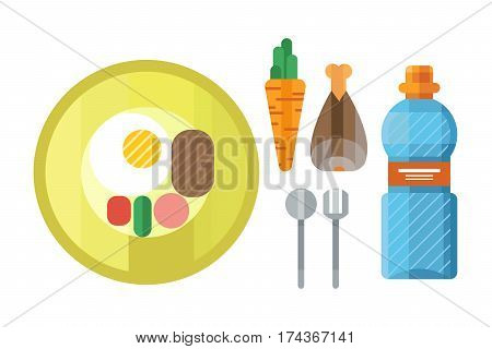 Sports nutrition icons in flat style detailed healthy food and fitness diet bodybuilding proteine power drink athletic supplement energy vector illustration. Carbohydrates dieting bottle.