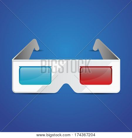 Flat anaglyph 3d glasses vector cinema icon