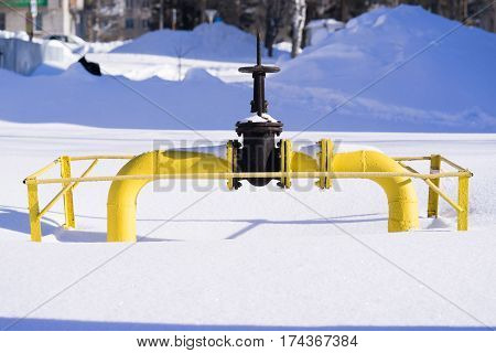 big on the gas pipe in the winter on the snow. sunshine