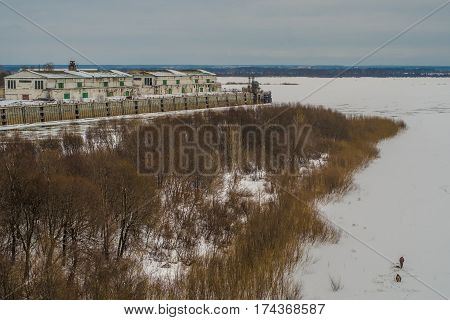 Landscape with Oka and Volga rivers under snow