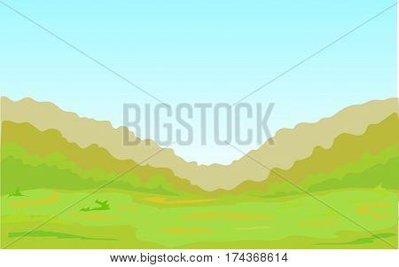 A green plain, a forest, a grass.