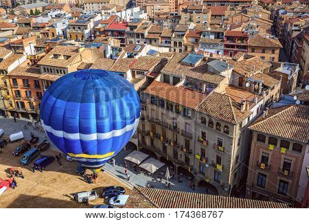 Hot air balloon launch on the main square of the historic Spanish city of Vic. Spain, province Barcelona