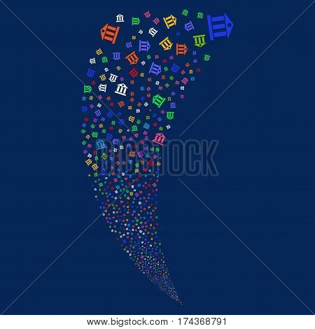 Bank Building random fireworks stream. Vector illustration style is flat bright multicolored iconic symbols on a blue background. Object fountain organized from scattered pictograms.