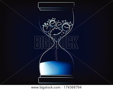 Vector Hourglass Melting Clock, The Time Is Now Concept