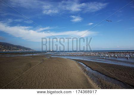 Malibu Lagoon State Beach in Malibu California. Malibu Pier California USA. Malibu Lagoon State Beach