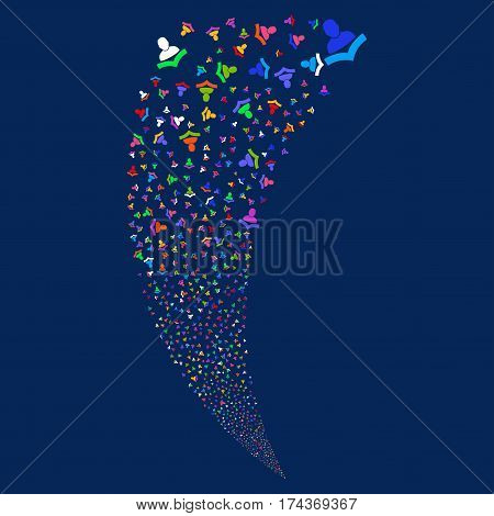 Book Reader random fireworks stream. Vector illustration style is flat bright multicolored iconic symbols on a blue background. Object fountain made from scattered pictograms.