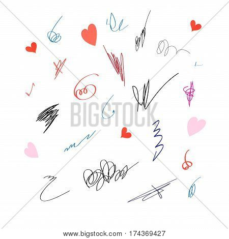Graphic set with different signatures on a white background