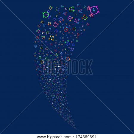 Buzzer random fireworks stream. Vector illustration style is flat bright multicolored iconic symbols on a blue background. Object fountain made from scattered icons.